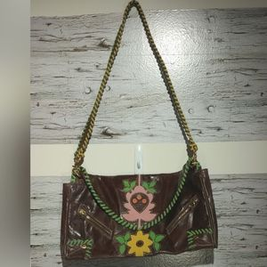 Loop Brown Leather Multi Floral Accent Hobo Bag